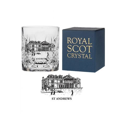 Crystal On the Rocks Tumbler Kintyre engraved St Andrews Club House (Gift Boxed)