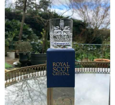 SALE - VE Day - 75th Anniversary Commemorative Kintyre Crystal Tot Glass - 60mm (Gift Boxed) | Royal Scot Crystal