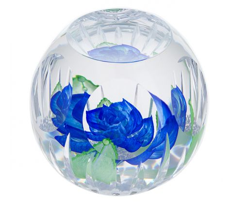 Blue Heaven Glass Paperweight, 105mm (Floral) Limited Edition of 150 - | James Pirie