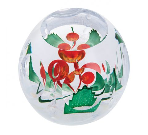 Holly Berries Glass Paperweight (Festive Fun) ( Christmas ) (Floral), 100mm - Limited Edition of 150 | Caithness Glass