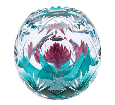 Hot House Magenta Magic Glass Paperweight, 90mm (Floral) - Limited Edition of 100 |Caithness Glass