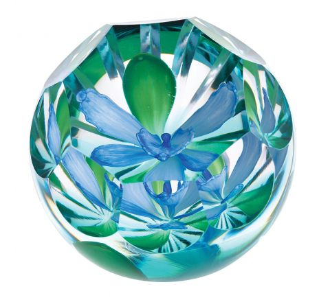 Hot House Blue Orchid Glass Paperweight, 85mm (Floral) - Limited Edition of 100 | Caithness Glass