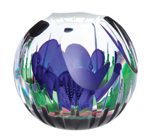 Hot House - Moody Blue Glass Paperweight, 95mm (Floral) - Limited Edition of 100 | Caithness Glass