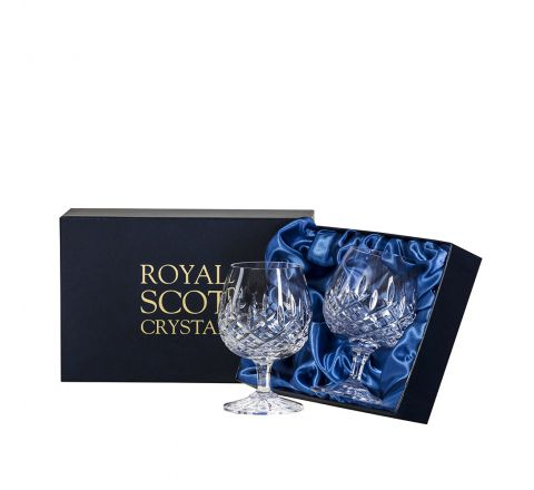 London - 2 Crystal Brandy Glasses 132mm (Presentation Boxed) | Royal Scot Crystal