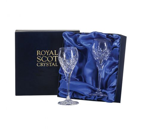 London - 2 Crystal Port / Sherry Glasses 165mm (Presentation Boxed) | Royal Scot Crystal