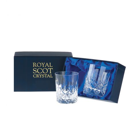 London - 2 Crystal Small Whisky Tumblers 87mm (Presentation Boxed) | Royal Scot Crystal