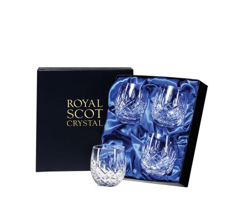 London - 4 Crystal Barrel Tumblers 85mm (Presentation Boxed) | Royal Scot Crystal