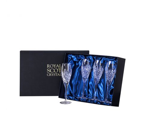 London - 4 Crystal Champagne Flutes 218mm (Presentation Boxed) | Royal Scot Crystal  - New shape!