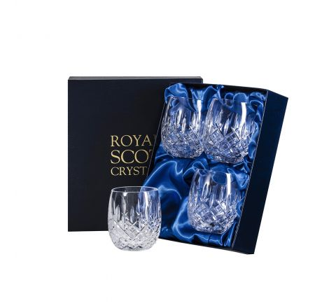 London - 4 Crystal Gin & Tonic (G&T) Tumblers 12oz (Barrel Shaped) - 95mm (Presentation Boxed) | Royal Scot Crystal