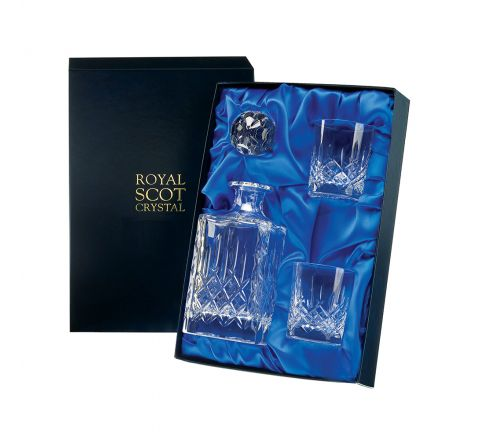 London - Whisky Set  - Square Spirit Decanter & 2 Crystal Whisky Tumblers (Presentation Boxed) | Royal Scot Crystal