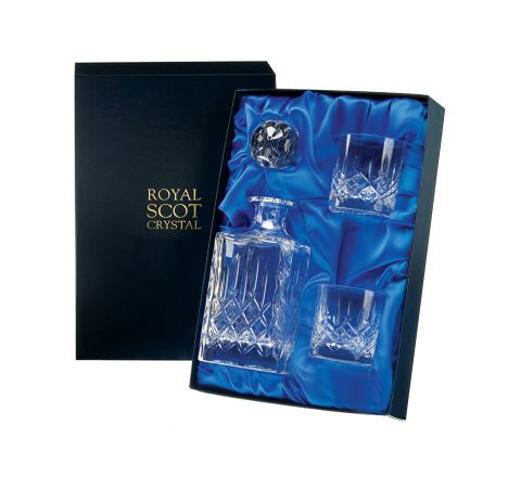 London - Whisky Set  - Square Spirit Decanter & 2 Old Fashioned Tumblers (Presentation Boxed) | Royal Scot Crystal