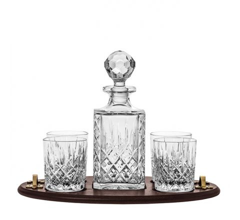 London Club Tray Inc. Crystal Square Spirit Decanter & 4 Large Crystal Tumblers (Solid Oak) (Gift Boxed) | Royal Scot Crystal