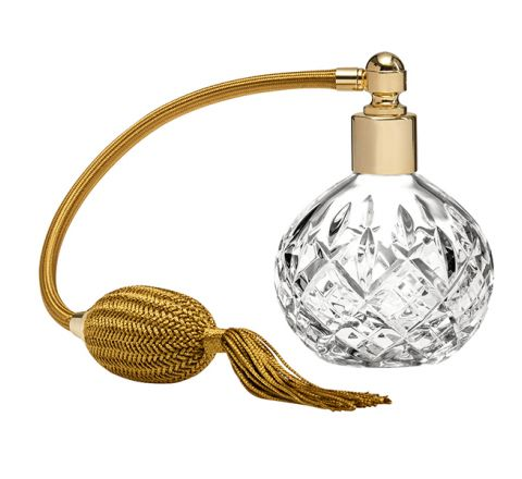 London Crystal Glass Perfume Bottle (Round) with Gold Atomiser (Gift Boxed)