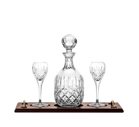 London Port Tray Set: Crystal Port Decanter & 2 Crystal Port Glasses (Solid Oak) (Gift Boxed) | Royal Scot Crystal