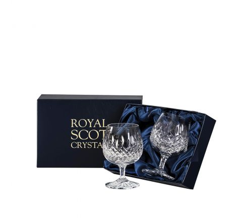 Mayfair - 2 Crystal Brandy Glasses 132mm (Presentation Boxed) | Royal Scot Crystal - New!