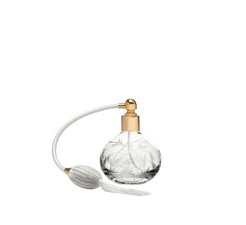 Meadow Flowers Round Perfume Atomiser (Cream Puffer) - 105mm (Gift Boxed)   Royal Scot Crystal