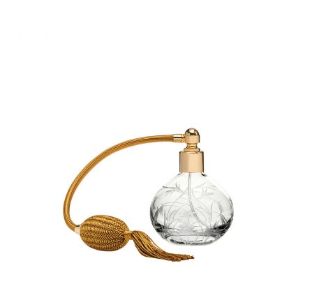 Meadow Flowers Round Perfume Atomiser (Gold Puffer) - 105mm (Gift Boxed)   Royal Scot Crystal