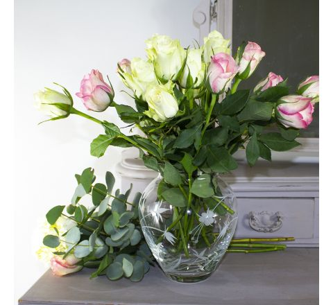 Meadow Flowers Extra Large Posy Vase 180mm (Gift Boxed) | Royal Scot Crystal