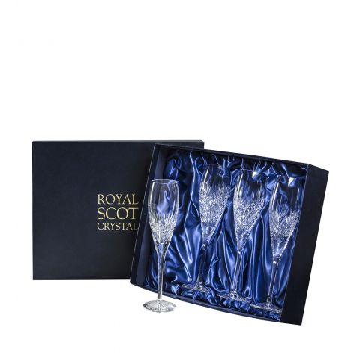 Mixed Set of 4 Champagne Flutes - Iona, London, Edinburgh & Highland 85mm (Presentation Boxed) | Royal Scot Crystal