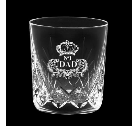 Highland Crystal Single Large Whisky Tumbler engraved 'No. 1 Dad', Perfect for Father's Day 95mm  (Gift Boxed) | Royal Scot Crystal