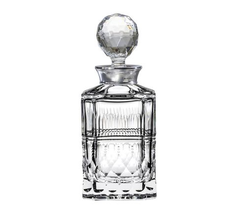 Oxford - Square Spirit Decanter with Hallmarked Sterling Silver Collar (Presentation Boxed) 245mm (Presentation Boxed) | Royal Scot Crystal