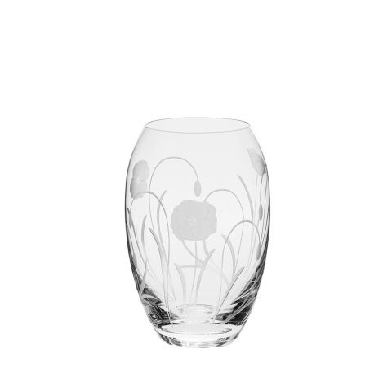 Poppy Field - Medium Barrel Vase 180mm (Gift Boxed) | NEW | Royal Scot Crystal