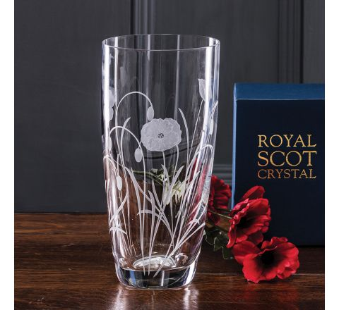 Poppy Field - Tall Vase 250mm (Gift Boxed) | NEW  | Royal Scot Crystal