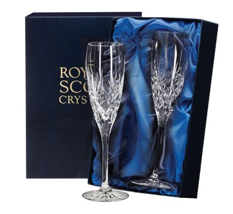 Kintyre - 2 Crystal Champagne Flutes  - 132mm (Presentation Boxed) | Royal Scot Crystal