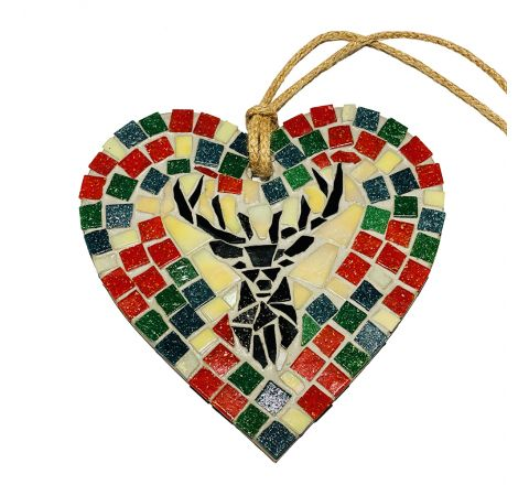 Stag (Red) Mosaic Art Wall Hanging
