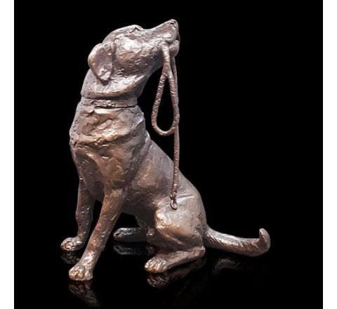Medium Labrador with Lead Sculpture (h110mm) (Gift Boxed) | Richard Cooper Bronze