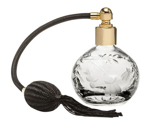 Annabel Crystal Glass Perfume Bottle (Round) with Black Atomiser (Gift Boxed)