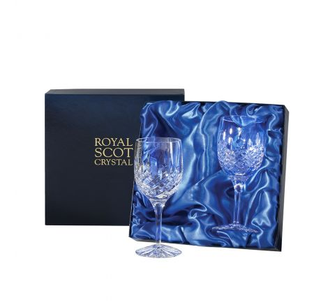 SALE - Aviemore - 2 Large Crystal Wine Glasses 181mm (Blue Presentation Boxed) | Royal Scot Crystal