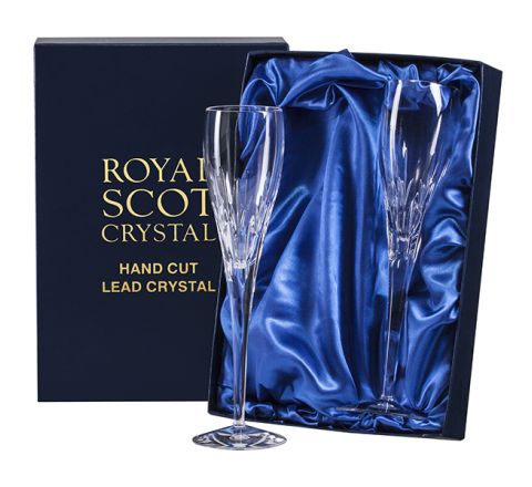 Sapphire - 2 Crystal Champagne Flutes (Presentation Boxed)