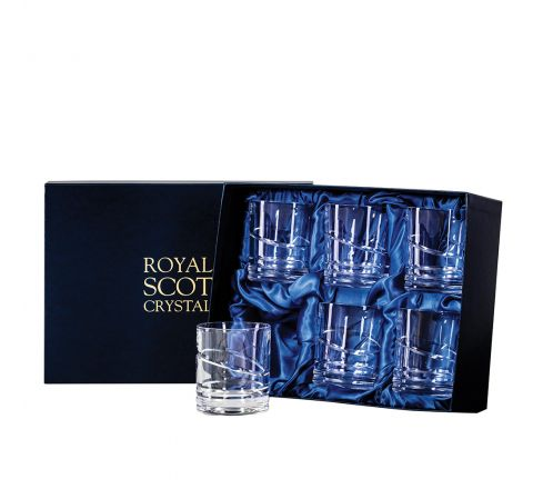 Saturn - 6 Large 'On the Rocks' Tumblers 100 mm (Presentation Boxed)   Royal Scot Crystal