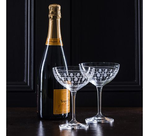 Nouveau - 2 Saucer Champagne (Coupe) Glasses 216mm (Gift Boxed) | Royal Scot Crystal - New!