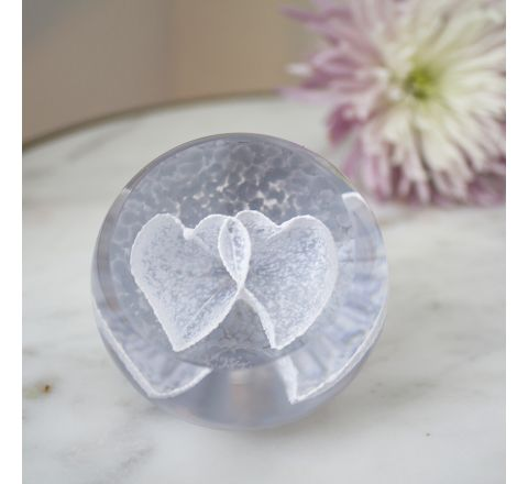 Silver Love Hearts Glass paperweight / Ornament - Exclusive to James Pirie 60mm | Caithness Glass