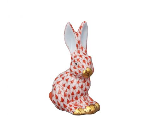 Miniature Sitting Rabbit Rust - Porcelain Animal Figurine 50mm | Herend