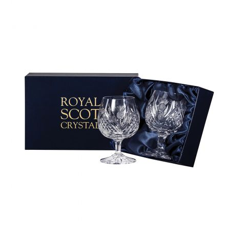 Scottish Thistle - 2 Brandy Glasses 95mm (Presentation Boxed) | Royal Scot Crystal
