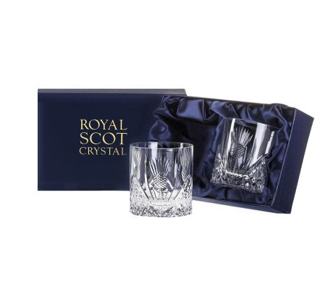 Scottish Thistle - 2 Large On the Rocks Tumblers 100 mm (Presentation Boxed) | Royal Scot Crystal