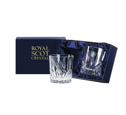 Scottish Thistle - 2 Whisky Tumblers 84mm (Presentation Boxed) | Royal Scot Crystal