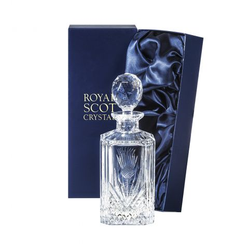 Scottish Thistle - Square Spirit Decanter 245mm (Presentation Boxed) | Royal Scot Crystal