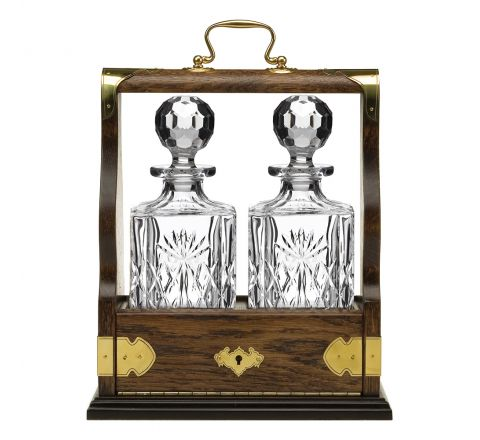 Kintyre Double Tantalus (Solid Oak) - Containing 2 Crystal Kintyre Square Spirit Decanters - (Gift Boxed) | Royal Scot Crystal