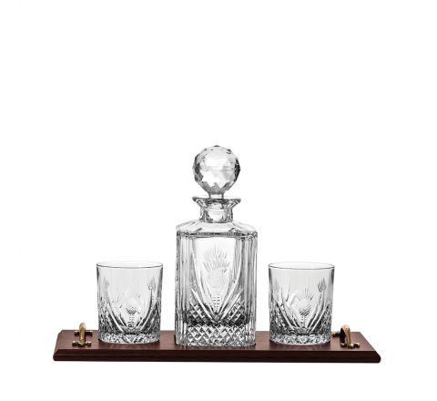 Scottish Thistle - Solid Oak Whisky Tray & Crystal Square Spirit Decanter & 2 Large Crystal Tumblers (Gift Boxed) | Royal Scot Crystal