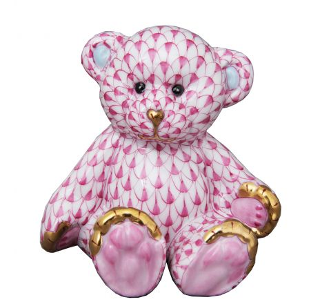 Small Teddy Bear Pink - Porcelain Animal Figurine 70mm | Herend