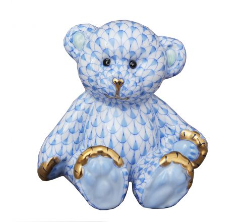 Small Teddy Bear Blue - Porcelain Animal Figurine 70mm | Herend