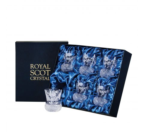 Flower of Scotland 6 Whisky Tumblers (Thistle Shape)  - 85mm (Presentation Boxed) | Royal Scot Crystal - New!