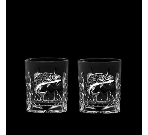 British Wildlife - 2 Kintyre Tot (SHOT) Glass engraved SALMON (60mm, 6cl) (Gift Boxed)