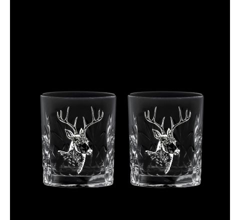 British Wildlife - 2 Kintyre Tot (6cl) (SHOT) Glass engraved STAG (Gift Boxed) - NEW