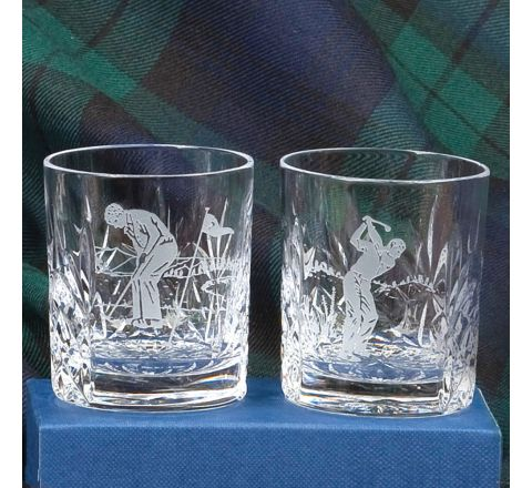2 Kintyre Tot (Shot) Glasses engraved golfer (Gift Boxed)