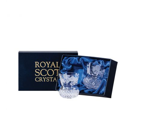Flower of Scotland (thistle) - 2 Tot (Shot) Glasses (Thistle Shape) 60 mm (Presentation Boxed) | Royal Scot Crystal